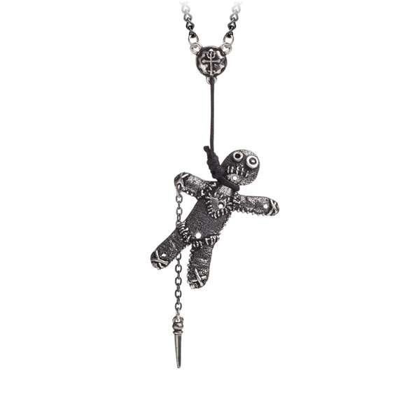 Legends Jewelry - Voodoo Doll Witch Necklace Pendant Pewter Witch